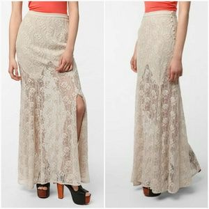 UO Ecoté Crochet Lace Mermaid Maxi Skirt